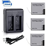 VVHOOY 1350mAh Rechargeable Action Camera Battery Dual Charger Compatible YI Discovery 4K Action Camera,Pack of 3