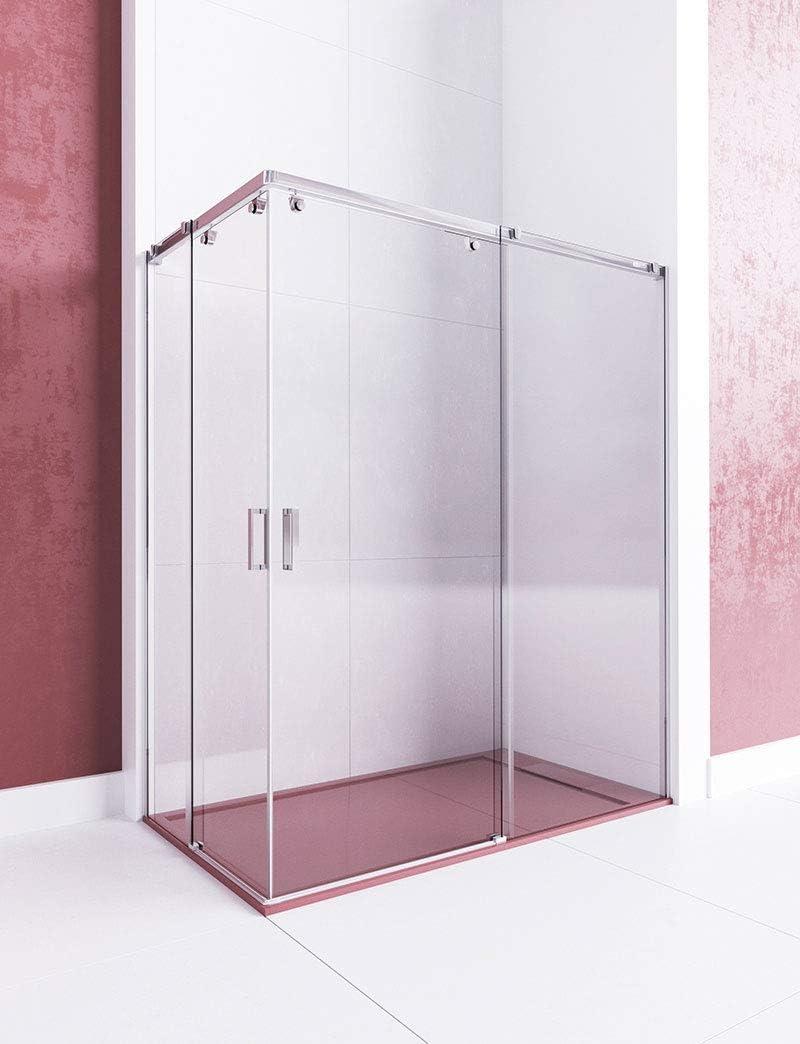 Modelo GAMMA - Mampara de ducha angular de 2 hojas fijas y 2 puertas correderas -Cristal 6 mm en Puertas y 8 mm en fijos con ANTICAL INCLUIDO: Amazon.es: Bricolaje y herramientas