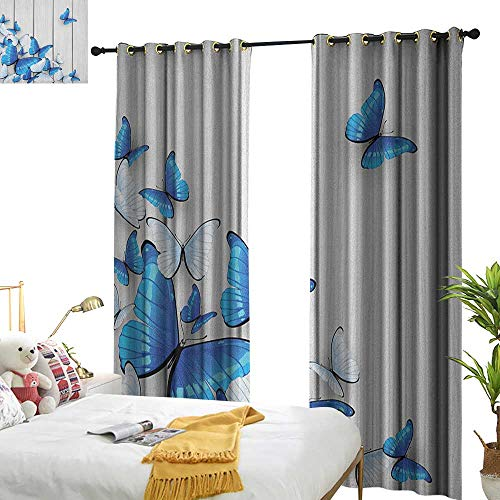 Littletonhome Thermal Curtains Butterflies Blue and White Butterflies on Wooden Background Timber Wall Rustic Life Privacy Protection W72 x L96 Silver Blue - Butterfly Bead Foil Silver