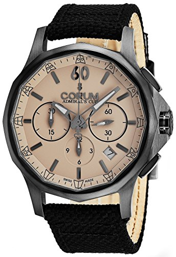 Admirals Cup Chronograph - Corum Admiral's Cup Legend 42 Mens Stainless Steel Chronograph Watch - 42mm Brown Face Black Fabric Leather Band Luxury Swiss Automatic Watch for Men 984.102.98/0603 AC13