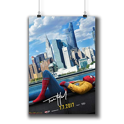 Spider-Man:Homecoming (2017) Movie Poster Small Prints 541-105 Tom Holland Reprint Signed Casts,Wall Art Decor for Dorm Bedroom Living Room (A3|11x17inch|29x42cm)
