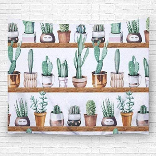 PDhome Various of Cactus Pattern Wall Tapestry,Polyester Fabric Wall Art Hanging Home Decor 90 X 60 inch