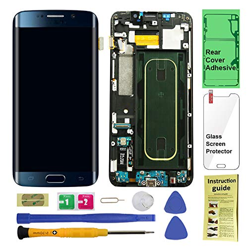 Display Touch Screen (AMOLED) Digitizer Assembly with Frame for Samsung Galaxy S6 Edge+ (Plus 5.7 inch) G928V (Verizon) (for Mobile Phone Repair Part Replacement) (Repair Tool Kits) (Black Sapphire) from AiYiA