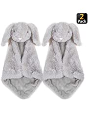 Baby Security Blanket - Giftset of 2 Small Gray Bunny Rabbit blankies with washbag, Soft Stuffed Plush Toy Blankie Soother, Perfect for Baby Shower, Newborn, Toddler Gift