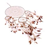 ARHSSZY Handmade Lace Feathers Bead Dream Catcher Wind Chimes Hanging Home Room Decoration Car Pendant Mascot Ornament Craft Dreamcatcher Net (5 Rings,Approx Length 27'',Dia 9'')