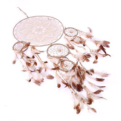 ARHSSZY Handmade Lace Feathers Bead Dream Catcher Wind Chimes Hanging Home Room Decoration Car Pendant Mascot Ornament Craft Dreamcatcher Net (5 Rings,Approx Length 27