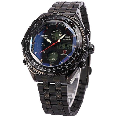 48mm Date Chronograph - SHARK New Mens Quartz Sport Army Wrist Watch Analog Stainless Steel
