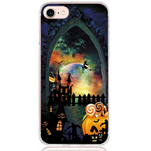 Wouier Compatible with iPhone 7-Halloween Theme Design Cover/TPU Rubber Durable Protective Case/Ultra-Slim Shockproof Anti Scratch Full Protective Case