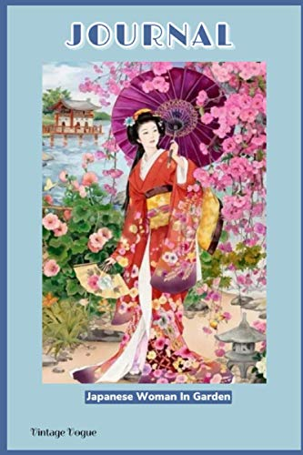"""JOURNAL Vintage Vogue """"Japanese Woman In Garden"""": Cover inspired by vintage fashion magazine - 120 lined pages - 6"""" x 9"""""""
