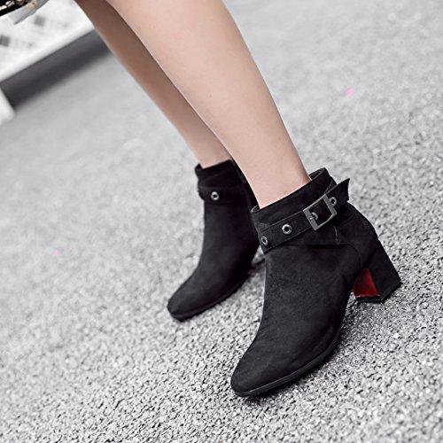 YE Damen Chunky Heels Ankle Boots Stiefeletten mit Reißverschluss und Schnalle 5cm Blockabsatz Bequem Modern Schuhe Schwarz