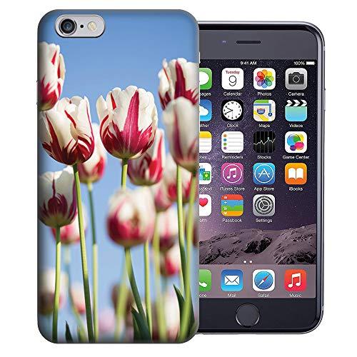 MUNDAZE for Apple iPhone 6s & iPhone 6 4.7 Inch UV Printed Design Case - Red White Tulips Design TPU Gel Case Cover