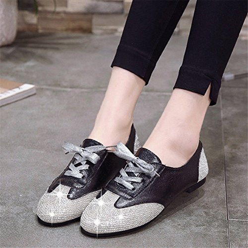 Mujer y Loafers up Noche C Rhinestone para PU Zapatos Fiesta Shoes Flat de Lace Heel Club Sneakers Glitter Summer aAY50