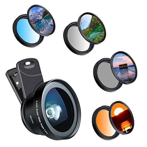Phone Camera Lens, 37 MM Cell Phone Lens Accessory Kit, Hizek 0.45X Wide Angle Lens with Lens Clip, Graduated Color Filters (Blue and Orange Grey), Circular Polarizer CPL (Polarizing Adapter)