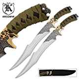 Jungle Suede Flyers Twin Sword Set With Scabbard - Crackled Black Finish, Suede-Wrapped Handles, Gold-Plated Accents - 19
