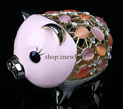 Studded Coin (Pewter Pig Money Box for Coins & Cash Novelty Opal Studded Treasure Saving Bank Pig Jewelry Box (Pink, 117.58 CM))