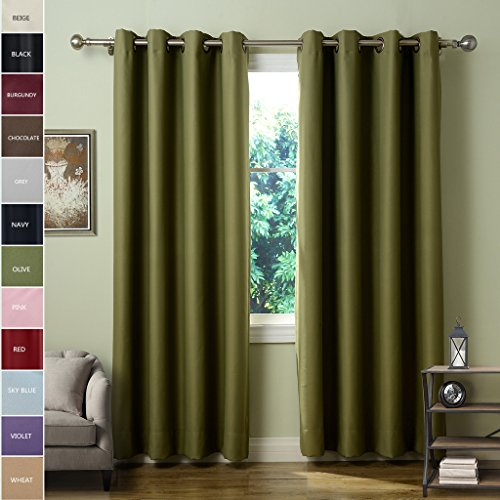ChadMade Solid Thermal Insulated Blackout Curtains Drapes Antique Bronze Grommet/Eyelet Olive 52W x 96L Inch (Set of 2 Panels) (Dot Polka Eclipse)