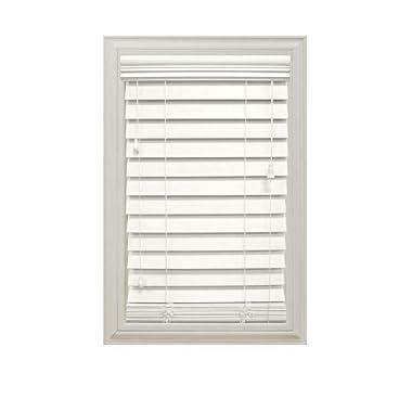 White 2-1/2 in. Premium Faux Wood Blind- 27 in. W x 64 in. L (Actual Size 26.5 in. W x 64 in. L)