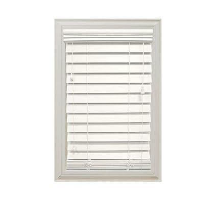 d279a2b6d3e6f White 2-1/2 in. Premium Faux Wood Blind- 27 in. W x 64 in. L (Actual Size  26.5 in. W x 64 in. L)