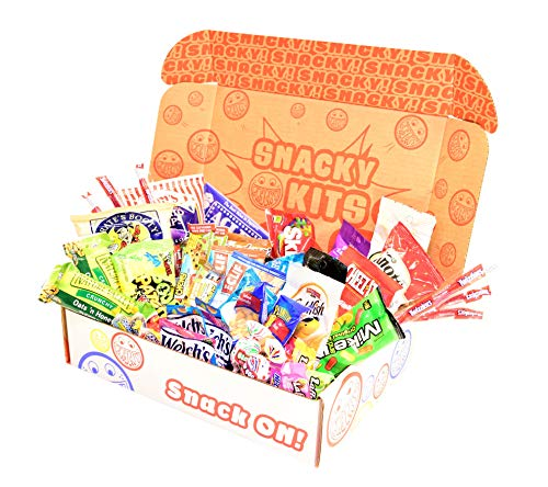 Snacky Kits - Perfect Kit - Care Package Deluxe Snack Sampler (55 Count) Gift Basket Variety Pack with Bars, Chips, Candy and Cookies - Treats for College Student, Office, Lunches, Get Well, Birthdays
