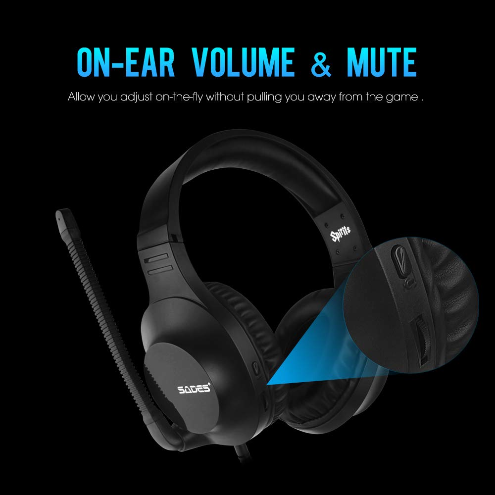 SADES PS4 Gaming Headset - Spirit - Black Headbands Headphones with Flexible Microphone, Control-Remote for PC Laptop Xbox One Cellphones Tablets