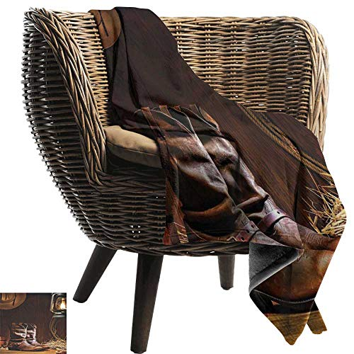 Sillgt Baby Blanket Western Decor American Rodeo Cowboy Traditional Leather Working Roper Boots Blanket on Bed Sofa Bedding 70