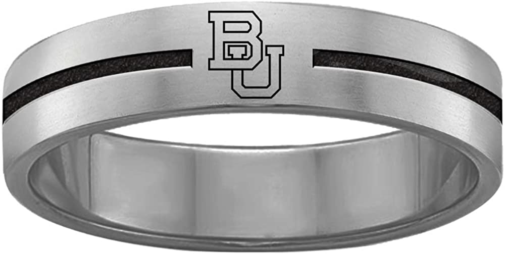 College Jewelry Boston University Terriers Rings Stainless Steel 8MM Wide Ring Band