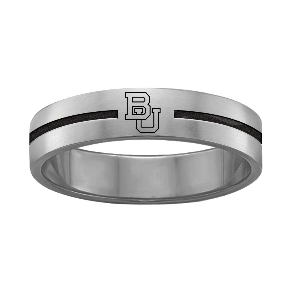 QUAD LOGO Boston Terriers Rings Stainless Steel 8MM Wide Ring Band