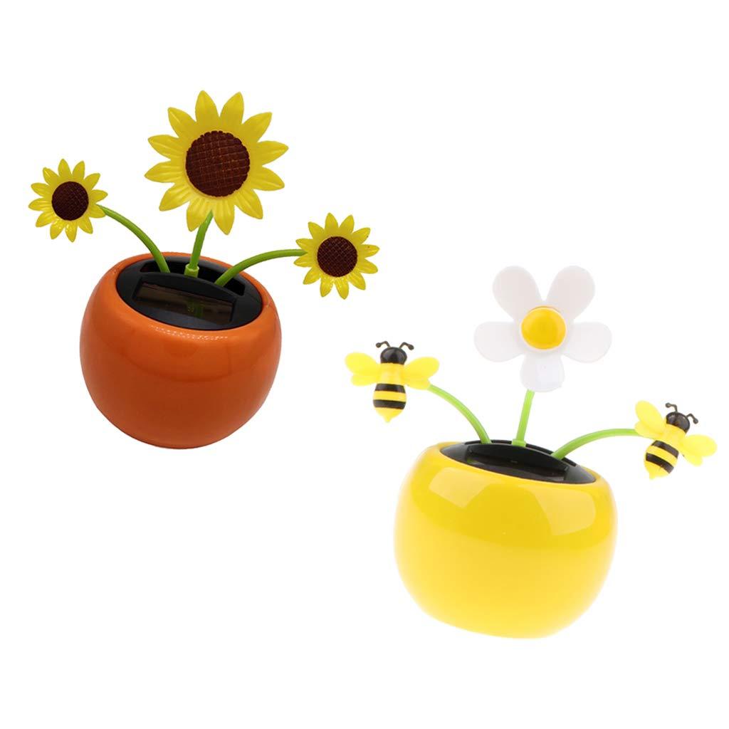 B Blesiya 2 Piezas Lindo Jarrón de Flores de Energía Solar, Casa Coches Ornamento Amarillo Florero de Flores Flor y Miel de Abeja