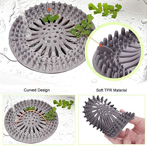 5 Pack Hair Catcher Durable Silicone Hair Stopper Shower Drain Covers ,Drain Hair Catcher、Bathtub Drain Cover,Easy to Install and Clean Suit for Bathroom Bathtub and Kitchen。