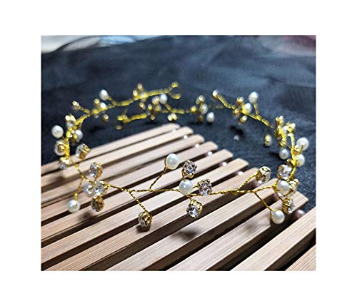 (Handmade Jewelry Bridal Hair Belt Accessories Hairpin Crown Crystal Pearl Hair Ornaments,A15-Gold(48cm))