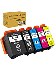 Colorworld Remanufactured Ink Cartridge Replacement for Epson 302 T302 T302XL 302XL to use with Expression Premium XP-6000 XP-6100 XP6000 Printer (Black,Photo Black Cyan,Magenta,Yellow 5-Pack)