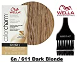 Wella COLOR CHARM PERMANENT Liquid Haircolor (w/Sleek Tint Brush) Excellent Gray Coverage, Floral Fragrance, 1:2 Mix Ratio Hair Color (6n / 611 Dark Blonde)