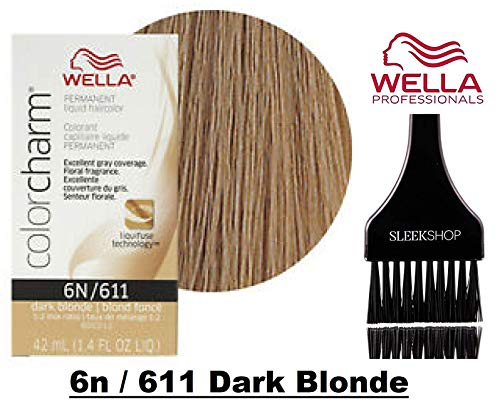 - Wella COLOR CHARM PERMANENT Liquid Haircolor (w/Sleek Tint Brush) Excellent Gray Coverage, Floral Fragrance, 1:2 Mix Ratio Hair Color (6n / 611 Dark Blonde)