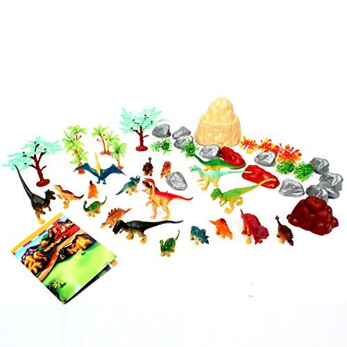 50 Piece Dinosaur Play Set: Ultimate Educational Toy of 20 Realistic Dinosaurs + 29 Trees & Rocks + PlayMat | Walking Dinos with Moving Jaws To Develop Kids Imagination | Top Dinosaur Gift Set by ToyVelt (Image #5)