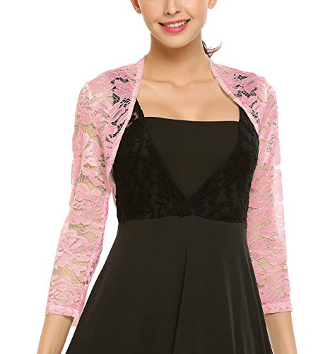 Grabsa Women's 3 4 Sleeve Lace Shrugs Bolero Cardigan Crochet Sheer Crop Jacket