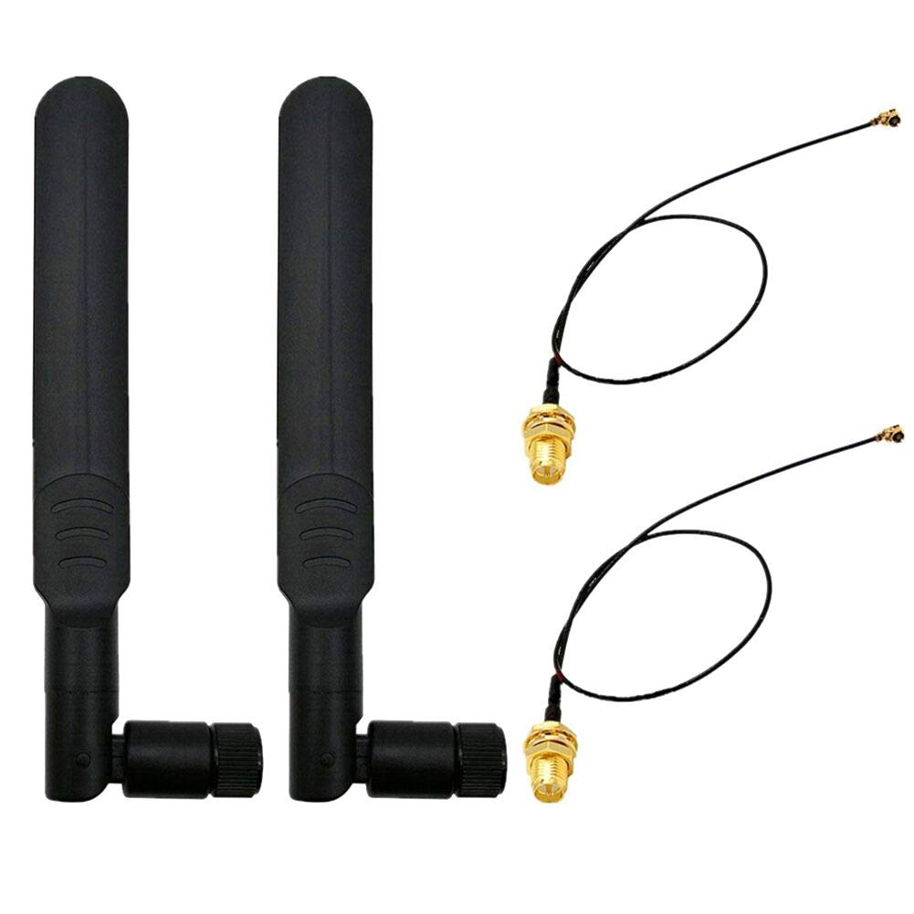WayinTop 2Set 8dBi 2.4GHz 5GHz Dual Band Wireless Network WiFi RP-SMA Male Antenna + 20cm U.FL/IPEX to RP-SMA Female Pigtail Cable for Mini PCIe Card ...