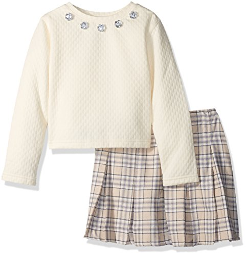 Youngland Little Girls Ivory Quilted Long Sleeve Tunic with Rhinestone Flower Trim