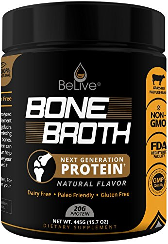 Bone Broth Protein Powder Supplement for Women and Men | Designed for Joint Pain with Glucosamine Chondroitin, Weight Loss, Digestive System, Younger Hair & Skin | 100% Natural Flavored (1LB)