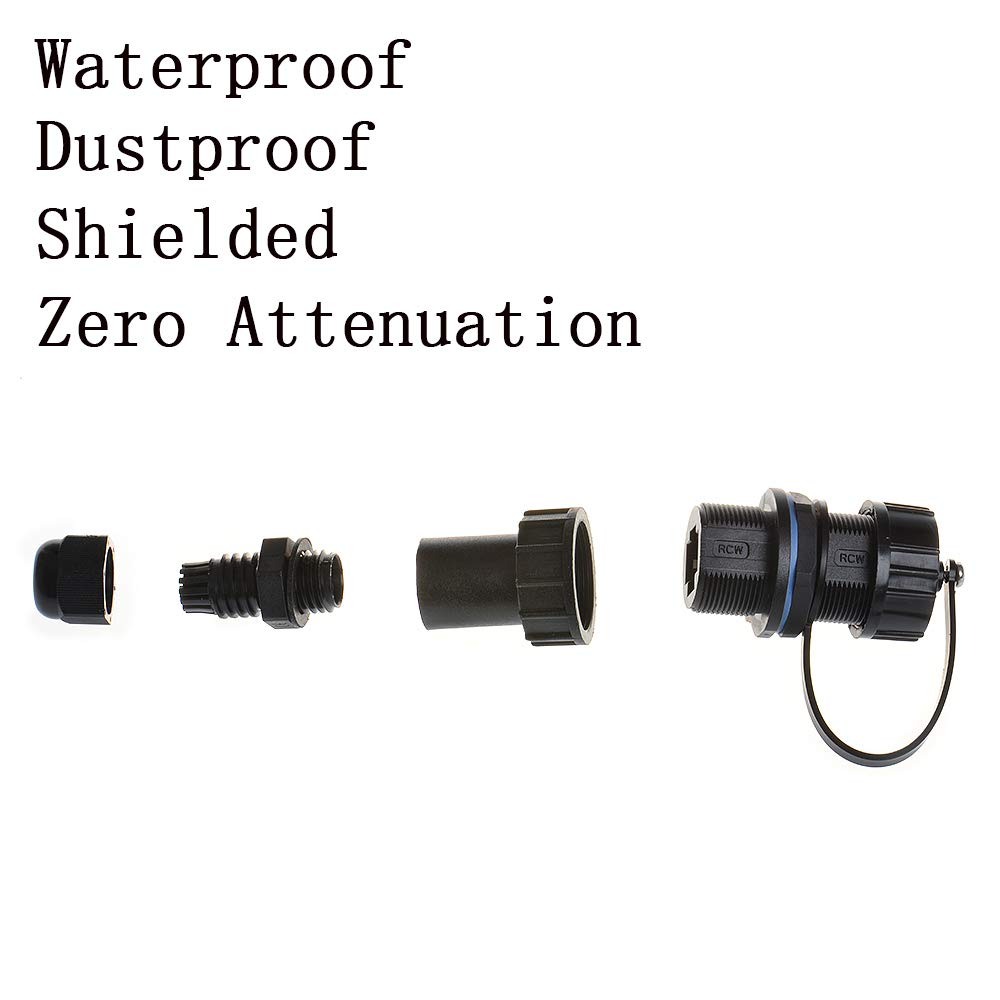 One End Waterproof Head Ethernet LAN Cable Connector Double Head Coupler Adapter Female to Female with Dust Cap Anmbest 2PCS Panel Mounting Shielded RJ45 Waterproof Cat5//5e//6 8P8C Connector
