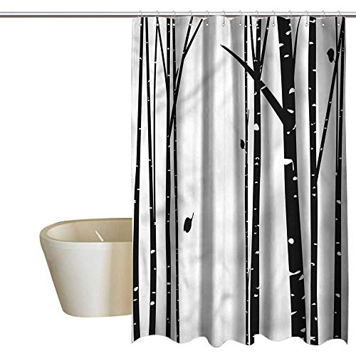 Denruny Shower Curtains Brown and Black Birch Tree,Grove