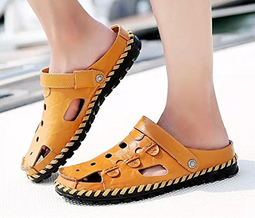 Xing Lin Flip Flop De La Playa Nuevo Hombre De Sandalias De Playa De Doble Uso Zapatos Verano Hombres Transpirable Zapatos Casual Zapatillas Sandalias Zapatos Marea De Hombres L9528 yellow