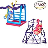 AordKing Interactive Baby Monkey Jungle Swing Gym Playset + Interactive Baby Monkey Climbing Stand For Fingerlings Monkey