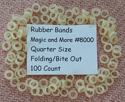 Rubber Bands for Magic Coins, Folding & Bite Out Quarters, Lot of 100 (8000)