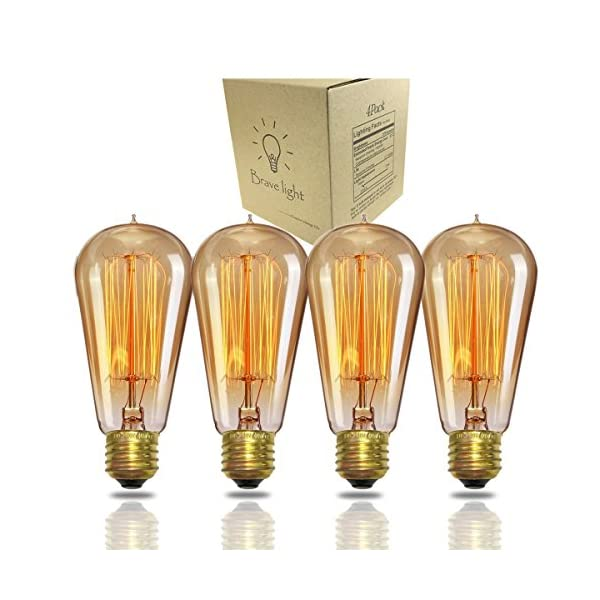 A19 Edison Bulb 60Watt,Vintage Bulb Dimmable Squirrel Cage Filament Edison Lihgt Bulb for Home Light Fixtures Decorative… 3