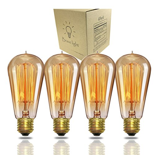 Antique Vintage Edison Bulb 4 Pack - 40 watt - Bravelights 40 watt Vintage Light Bulb - ST58 - Squirrel Cage Filament - 230 Lumens - Dimmable - E26 Bulb Base – Edison Light Bulbs - Amber Warm Glow