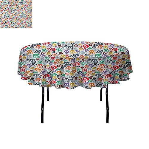DouglasHill Skull Leakproof Polyester Tablecloth Halloween Themed Colorful Skulls and Crossbones Funny Cartoon Style Pattern Print Outdoor and Indoor use D35 Inch Multicolor -