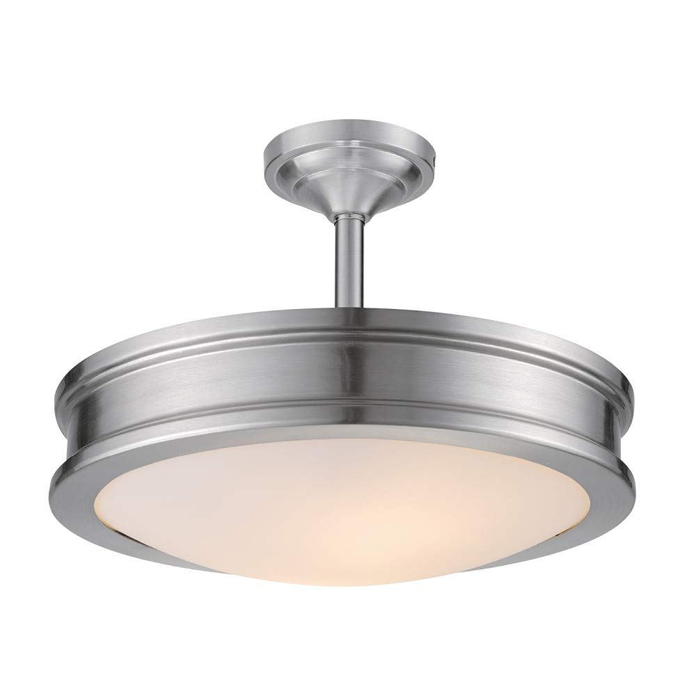 Globe Electric Downshire 2 Semi-Flush Mount Ceiling Light, Brushed Steel, Frosted Glass Shade 60321, Silver