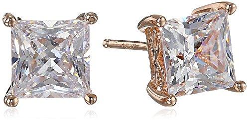 Rose Gold Plated Sterling Silver Stud Earrings set with Princess Brilliant Cut Swarovski Zirconia (5 cttw)