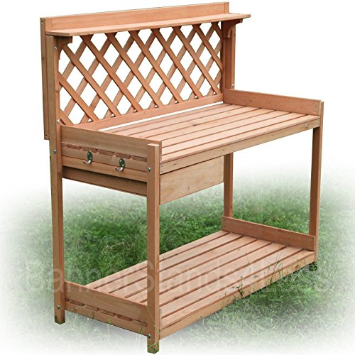 Wood Potting Bench Outdoor Table Stand 6cows Greenhouse