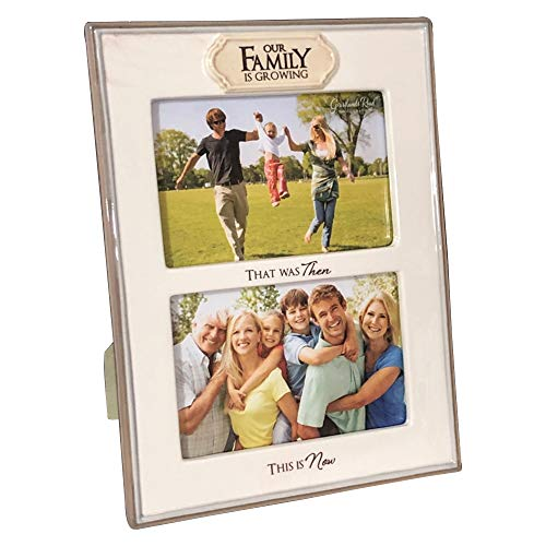 Grasslands Road Our Family is Growing Double Opening Ceramic Picture Frame Antique White Photo Frames Home Office Decor Tabletop Decorations 4 by 6 Inch